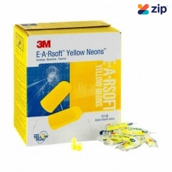3M 312-1250 - E-A-Rsoft Class 4 Yellow Neon Regular Uncorded Earplugs in Polybags M3121250 Head, Eye & Ear protection
