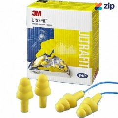 3M 340-4004 - 100 Pairs ​Reusable corded E.A.R Ultrafit Yellow Earplugs M3404004 Head, Eye & Ear protection