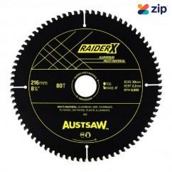 Austsaw ABRX2163080 - 216mm x 30 x 80T RaiderX Aluminium Multi Material Blade Saw Blades