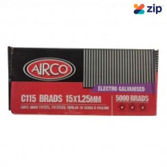 Airco C115 - 15mm x 1.25mm C1 Series Electro Galvanised Brads BF18150  Nail Gun Nails Consumables
