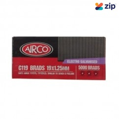 Airco C119 - 19mm x 1.25mm C1 Series Electro Galvanised Brads BF18190  Nail Gun Nails Consumables