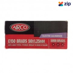 Airco C150 - 50mm x 1.25mm C1 Series Electro Galvanised Brads BF18500 Nail Gun Nails Consumables