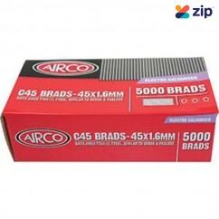 Airco C45 - 45mm x 1.60mm Electro Galvanised Brads BC16450 Nail Gun Nails Consumables