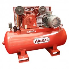 Glenco Airmac V40 415V - 415V 5.5kW (7.5hp) 37.5cfm 250L 12.2Amps Air Compressor Three Phase
