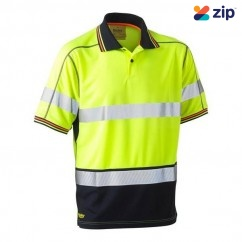 Bisley BK1219T_TT04 - 100% Polyester Yellow Navy Taped HI VIS Mesh Polo Workwear Shirts