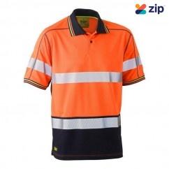 Bisley BK1219T_TT05 - 100% Polyester Orange Navy Taped HI VIS Mesh Polo Workwear Shirts