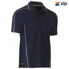 Bisley BK1425_BPCT - 100% Polyester Navy Reflective Piping Cool Mesh Polo Workwear Shirts