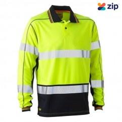 Bisley BK6219T_TT04 - 100% Polyester Yellow Navy Taped HI VIS Mesh Polo Workwear Shirts