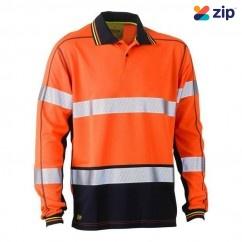 Bisley BK6219T_TT05 - 100% Polyester Orange Navy Taped HI VIS Mesh Polo Workwear Shirts