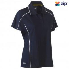 Bisley BKL1425_BPCT - 100% Polyester Navy Reflective Piping Women's Cool Mesh Polo Workwear Shirts