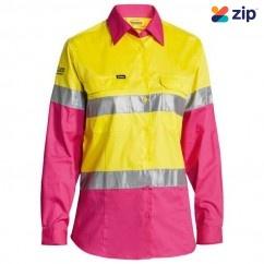 Bisley BL6696T_TT33 - 100% Cotton Yellow/Pink Women's Taped HI VIS Cool Lightweight Drill Shirt Safety Vests