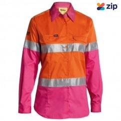 Bisley BL6696T_TT34 - 100% Cotton Orange/Pink Women's Taped HI VIS Cool Lightweight Drill Shirt Safety Vests