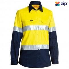 Bisley BL6896_TT01 - 100% Cotton Yellow/Navy Women's Taped HI VIS Cool Lightweight Drill Shirt Safety Vests