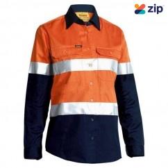 Bisley BL6896_TT02 - 100% Cotton Orange/Navy Women's Taped HI VIS Cool Lightweight Drill Shirt Safety Vests