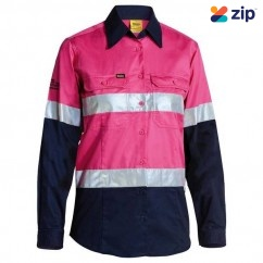 Bisley BL6896_TT32 - 100% Cotton Pink/Navy Women's Taped HI VIS Cool Lightweight Drill Shirt Safety Vests
