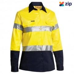 Bisley BLT6456_TT01 - 100% Cotton Yellow/Navy Women's Taped HI VIS Drill Shirt Safety Vests