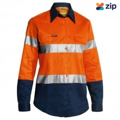 Bisley BLT6456_TT02 - 100% Cotton Orange/Navy Women's Taped HI VIS Drill Shirt Safety Vests