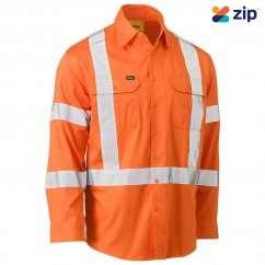 Bisley BS6166XT_BVEO- 100% Cotton Orange X Taped Biomotion HI VIS Cool Lightweight Drill Shirt Others