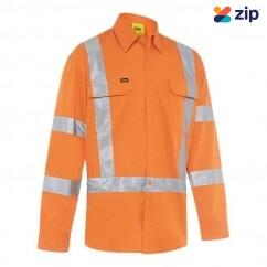 Bisley BS6166XT_BVOR- 100% Cotton Rail Orange X Taped Biomotion HI VIS Cool Lightweight Drill Shirt Others