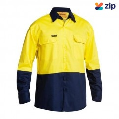 Bisley BS6267_TT01 - 100% Cotton Yellow Navy HI VIS Drill Shirt Workwear Shirts