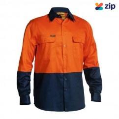Bisley BS6267_TT02 - 100% Cotton Orange Navy HI VIS Drill Shirt Workwear Shirts