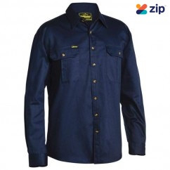 Bisley BS6433_BPCT - 100% Cotton Navy Original Drill Shirt Workwear Shirts