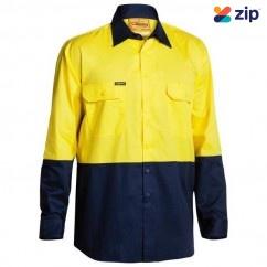 Bisley BS6895_TT01 - 100% Cotton Yellow Navy HI VIS Cool Lightweight Drill Shirt Workwear Shirts