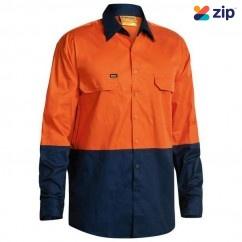 Bisley BS6895_TT02 - 100% Cotton Orange Navy HI VIS Cool Lightweight Drill Shirt Workwear Shirts