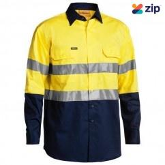 Bisley BS6896_TT01 - 100% Cotton Yellow Navy Taped HI VIS Cool Lightweight Shirt Workwear Shirts