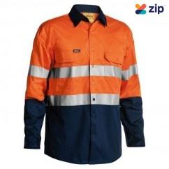 Bisley BS6896_TT02 - 100% Cotton Orange Navy Taped HI VIS Cool Lightweight Shirt Workwear Shirts