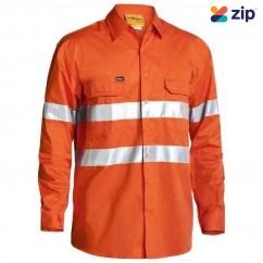 Bisley BS6897_BVEO - 100% Cotton Orange Taped Hi Vis Cool Lightweight Drill Shirt Workwear Shirts