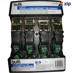 built 190-71-64422 - 4 PCE 25MM x 4.5M Ratchet Tie Down Automotive Service Tools