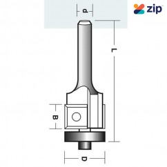 """Carb-I-Tool R1912B - 6.35 mm (1/4"""") One Bearing Two Flute Flush Trmming Bit Router Bits"""