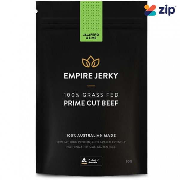 EMPIRE JERKY Jalapeno & Lime Favourite 100% Grass Fed Prime Cut Beef Jerky - 50G Hydration