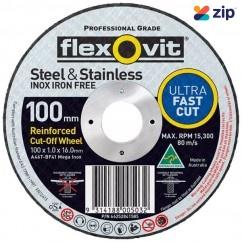 FLEXOVIT 66252841585 - 100 x 1.0 x 16mm Metal Cutting Wheel 15102010