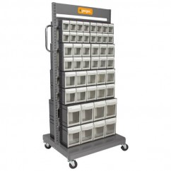 Geiger MSFO4568X2 - Double Sided Mobile Tipout Sorting Cart Shelving & Tool Hanging