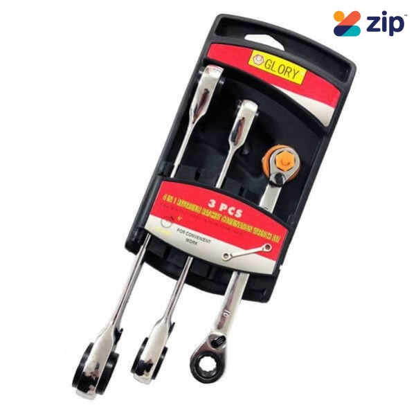Glory HL2210 - 3 PCS 12 Sizes 4-in-1 Reversible Ratchet Combination Wrench Set Wrench