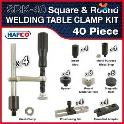 Hafco SRK-40 - 40 Piece Square & Round Welding Table Clamp Kit W08500 Clamps