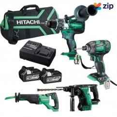 Hitachi KC18D4PC(HA) - 18V 6.0Ah Li-ion Cordless Brushless 4 Piece Combo Kit