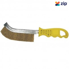 KC Tools 09202 - 265mm Hand Brass Wire Brush - Yellow Handle