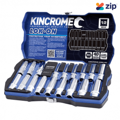 "Kincrome K27060 - 18 Piece 1/2"" Square Drive LOK ON Socket and Extension Bar Set"