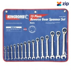 Kincrome K3015 - 15 Piece Metric Reversible Combination Gear Spanner Set Spanner