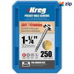 "Kreg SML-C125-250 - 1-1/4"" 32mm Coarse Thread 8# Zinc Coated Pocket Hole Screws 250 Count"