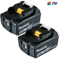 Makita BL1850B-Lx2 - 18V 5.0Ah Li-ion Battery with Charge Indicator Twin Pack Batteries & Chargers