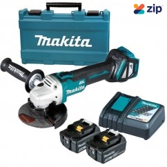 "Makita DGA511RTE - 18V 5.0Ah 125mm (5"") Cordless Brushless Slide Angle Grinder Kit Cordless Grinders - Angle"