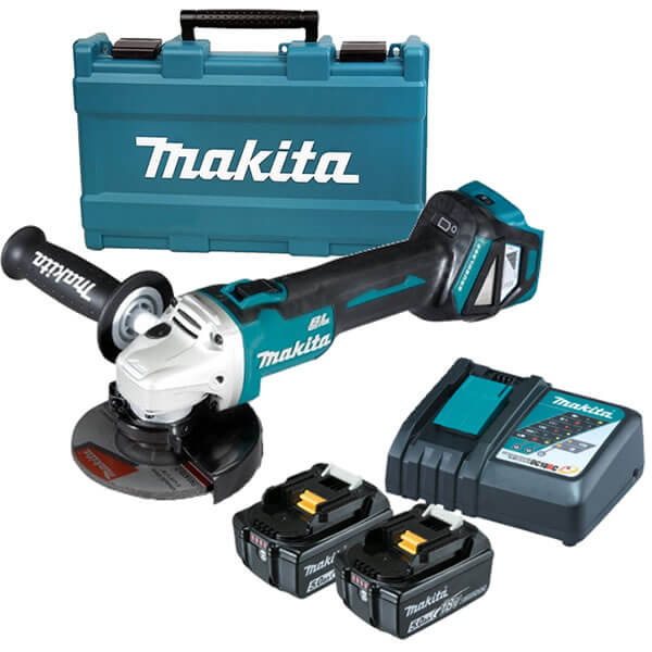 cordless grinder. new makita dga511rte - 18v 5.0ah 125mm (5\u201d) cordless brushless slide angle grinder