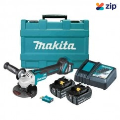 Makita DGA512RTEU - 18V 125mm Cordless Brushless AWS Slide Switch Angle Grinder Kit Cordless Grinders - Angle