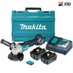 Makita DGA518RTEU - 18V 125mm Cordless Brushless AWS Paddle Switch Angle Grinder Kit Cordless Grinders - Angle