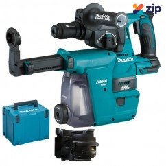Makita DHR243ZJW - 18V 24mm Cordless Brushless Rotary Hammer Skin /w Dust Extraction Attachment Kit Rotary Hammer Drills