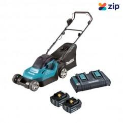 "Makita DLM382PT2 - 36V (18V x 2) 5.0Ah 380mm (15"") 40L Cordless Lawn Mower Kit Lawn Mowers"